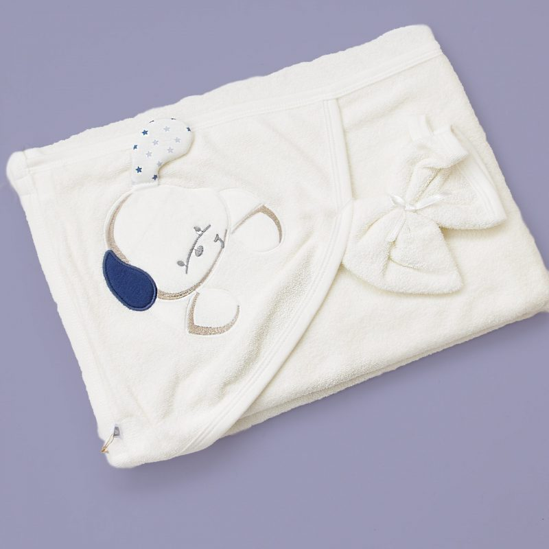 Blue puppy baby towel