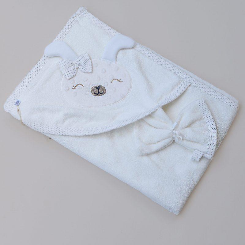 White Bunny baby towel