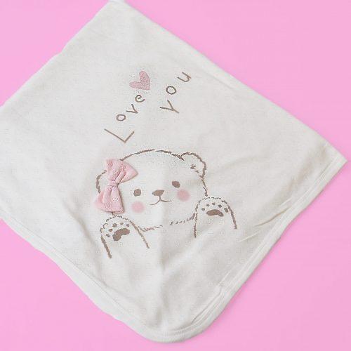 baby pink bear blanket