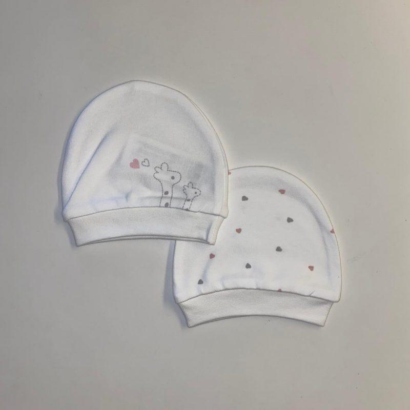 set 2 baby cotton hats