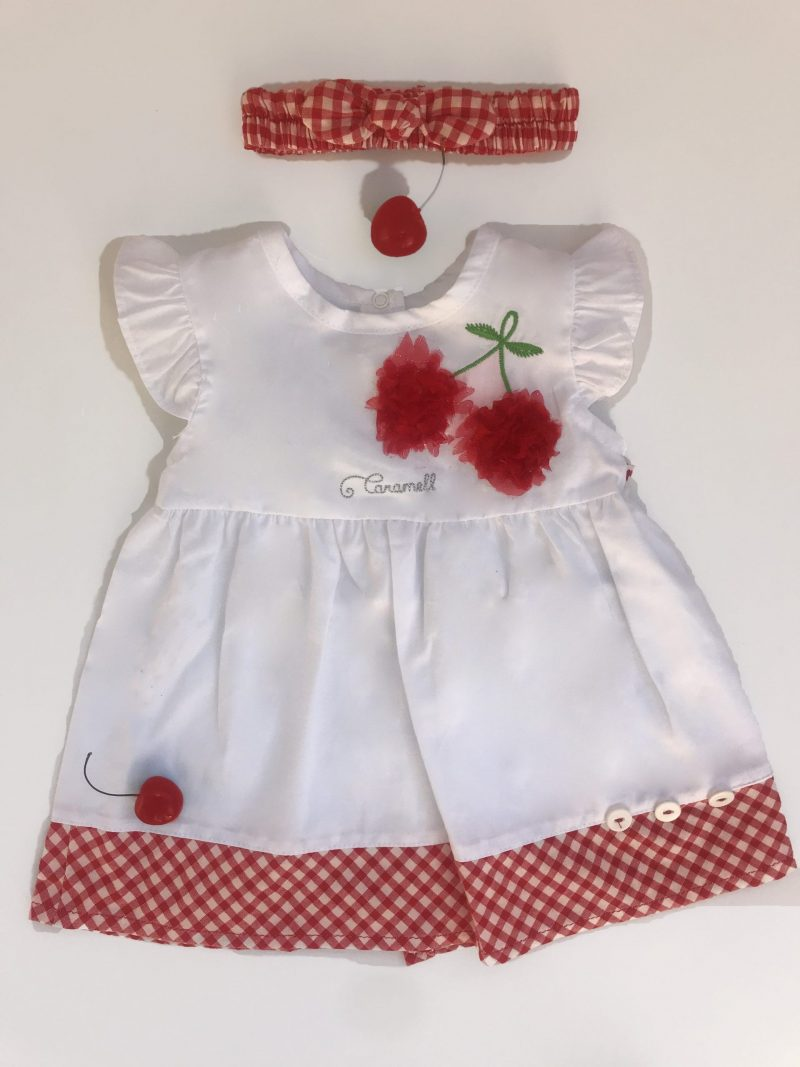 miss cherry dress red and white