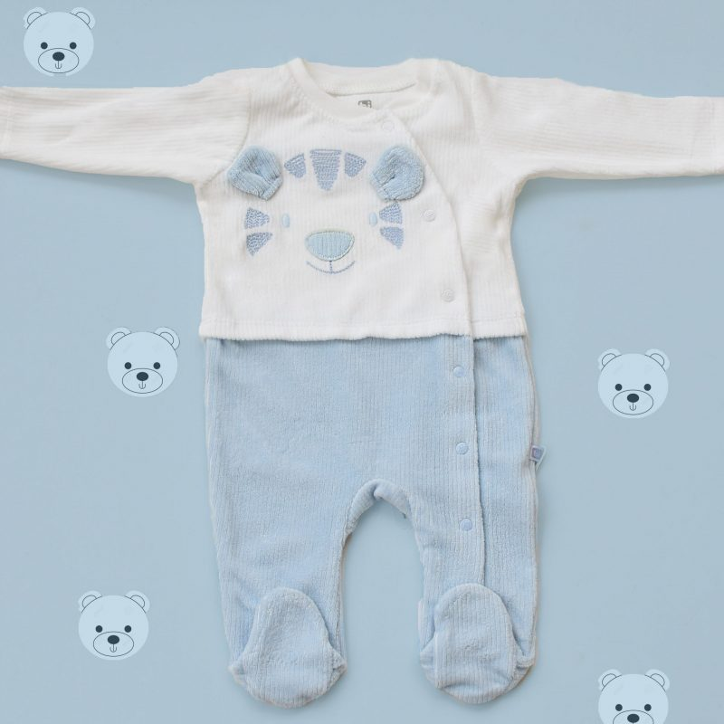 blue bear baby overall