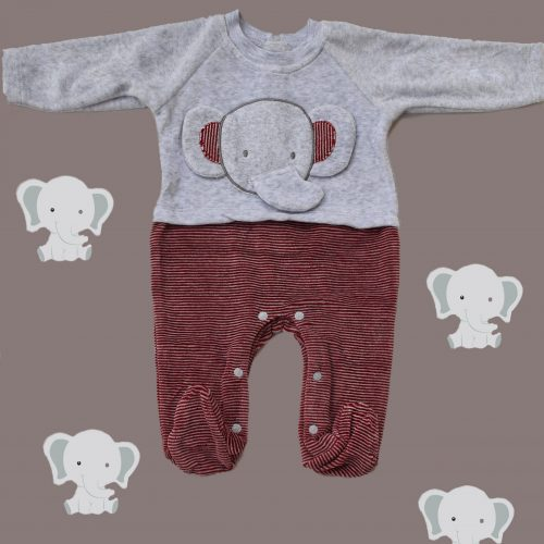 red elephant baby overall