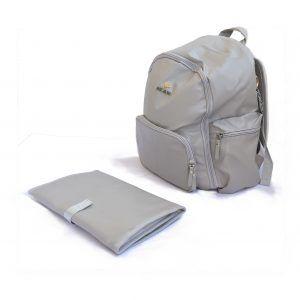 diaper backpack, napy bag gray